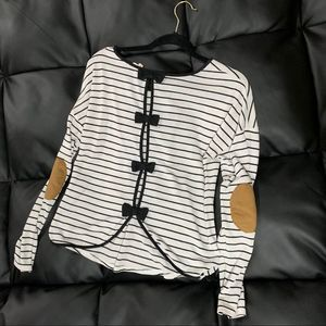 Miss Daisy Striped Elbow Patch Long Sleeve